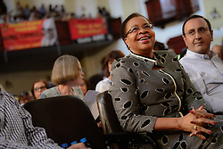 JOHANNESBURG, April 1, 2017  Graca Machel,?widow of late former South Africa's President Nelson Mandela, attends a memorial service for Ahmed Kathrada at Johannesburg City Hall,?South?Africa, on April 1, 2017. Ahmed Kathrada Foundation, Nelson Mandela Foundation and South African Communist Party held a memorial service for anti-apartheid stalwart Ahmed Kathrada, who died on Tuesday morning at 87. (Credit Image: © Zhai Jianlan/Xinhua via ZUMA Wire)