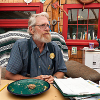 Captain James Bates, owner and operator of Castalia Marsh Retreat, an ecolodge on Grand Manan Island, New Brunswick, Canada. Captain James has built most of the cottages and cabins here by hand, dedicating his life to the land on this small island.  Photo by William Drumm.