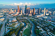 Aerial view of skyline downtown Houston and highway at buffalo bayou park, Houston, Texas, USA during sunset