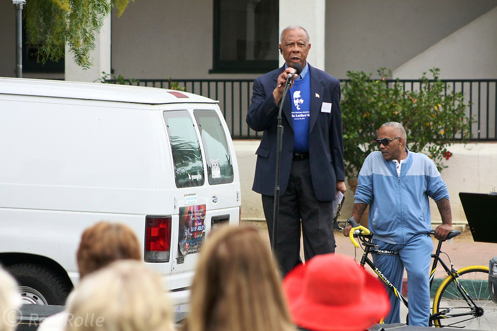 "19 January 2015-Santa Barbara, CA: Isaac Garret, Pres. MLK Jr. Comm. of Santa Barbara.  Santa Barbara Honors Dr. Martin Luther King Jr. with a Day of Celebration.  The Santa Barbara MLK, Jr. Committee chose ""Drum Majors for Justice"" as it's theme for the day which included a Pre-March Program in De la Guerra Plaza followed by a march up State Street to the Arlington Theater for speakers, music and poetry.  The program concluded with a Community Lunch at the First United Methodist Church in Santa Barbara.  Photo by Rod Rolle"