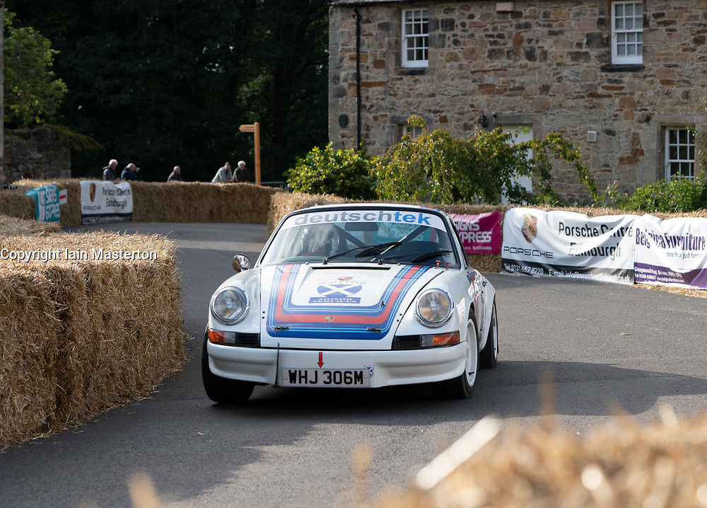 Boness Revival hillclimb motorsport event in Boness, Scotland, UK. The 2019 Bo'ness Revival Classic and Hillclimb, Scotland's first purpose-built motorsport venue, it marked 60 years since double Formula 1 World Champion Jim Clark competed here.  It took place Saturday 31 August and Sunday 1 September 2019. 786. Hugh Mackinnon. Porsche 911