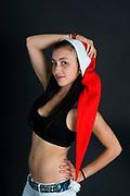Young sexy woman wearing Santa hat