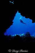 tunnel through coral wall,<br /> Flinders Reef, Coral Sea, <br /> Australia