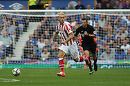 Marko Arnautovic of Stoke City makes a break. Premier league match, Everton v Stoke city at Goodison Park in Liverpool, Merseyside on Saturday 27th August 2016.<br /> pic by Chris Stading, Andrew Orchard sports photography.