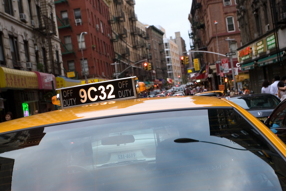 Ellos cab in Little Italy, Manhattan, NY, USA.