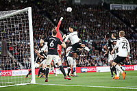 DERBY, ENGLAND - MAY 11: - DCFC vs Fulham. Curtis Davies, challenges the Fulham keeper
