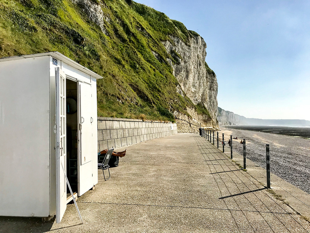 June 2018: Fécamp, Normandie, the sea wall with cabin
