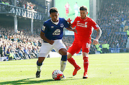 Tyias Browning of Everton and Alberto Moreno of Liverpool battle for the ball. Barclays Premier League match, Everton v Liverpool at Goodison Park in Liverpool on Sunday 4th October 2015.<br /> pic by Chris Stading, Andrew Orchard sports photography.