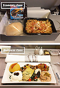 Airline Food: Economy Vs. First Class <br /> <br /> What used to be a woman's size 12 in 1968 is a woman's size 4 today; what used to be third-class is economy-class today. What changed? We've grown more sensitive: I'm not overweight, I still fit into a size 12. I'm not a third-class passenger, I'm a price conscious individual that rides in economy-class.<br /> Despite the name games, airline food hasn't changed much. Economy class meals still come in a wrapper, and business or first-class meals come with real cutlery. This list shows the sometimes striking difference between what the different classes eat.<br /> <br /> Photo shows: Aegean Airlines<br /> ©Exclusivepix Media