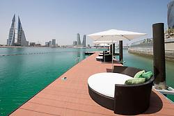 View of Bahrain skyline and Bahrain Bay from new Four Seasons Bahrain Bay luxury Hotel in Bahrain
