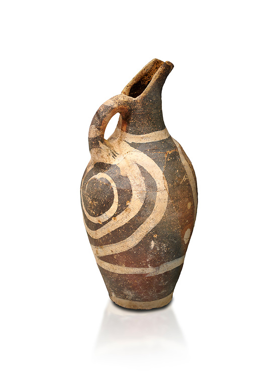 Minoan decorated Kamares  style jug with swirl pattern, Poros cemetery 1800-1650 BC; Heraklion Archaeological  Museum, white background. .<br /> <br /> If you prefer to buy from our ALAMY PHOTO LIBRARY  Collection visit : https://www.alamy.com/portfolio/paul-williams-funkystock/minoan-art-artefacts.html . Type -   Heraklion   - into the LOWER SEARCH WITHIN GALLERY box. Refine search by adding background colour, place, museum etc<br /> <br /> Visit our MINOAN ART PHOTO COLLECTIONS for more photos to download  as wall art prints https://funkystock.photoshelter.com/gallery-collection/Ancient-Minoans-Art-Artefacts-Antiquities-Historic-Places-Pictures-Images-of/C0000ricT2SU_M9w
