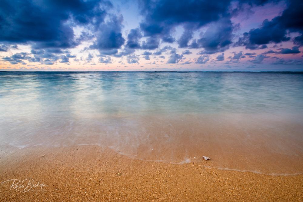 Evening light over the Pacific from Tunnels Beach, Kauai, Hawaii USA