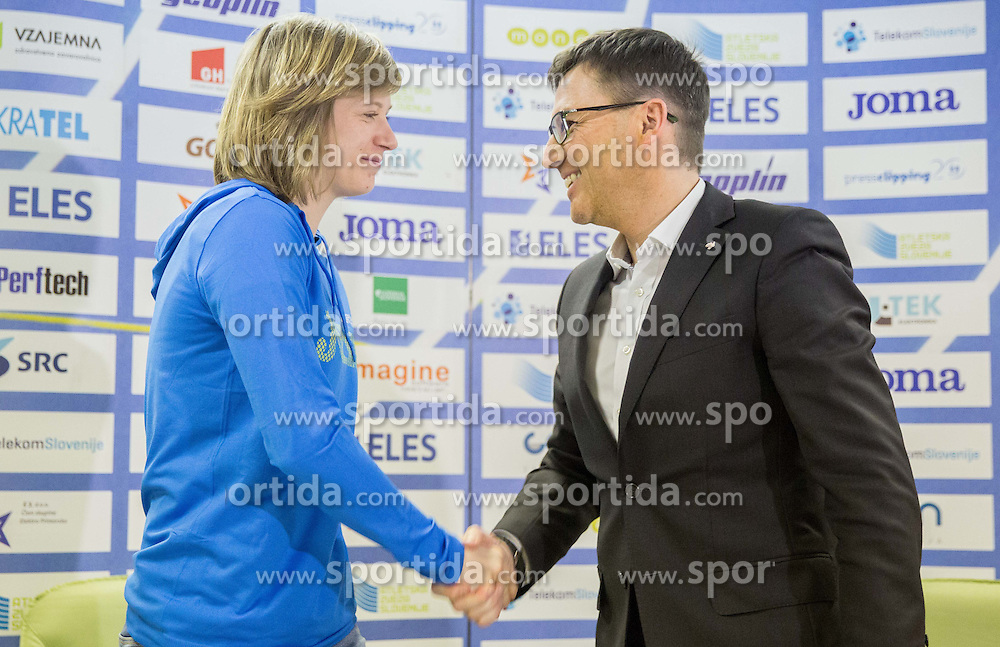 Tina Sutej and Roman Dobnikar, new president of AZS during press conference when Slovenian athletes and their coaches sign contracts with Athletic federation of Slovenia for year 2016, on February 25, 2016 in AZS, Ljubljana, Slovenia. Photo by Vid Ponikvar / Sportida
