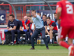 Dundee's manager Neil McCann. Dundee 0 v 1 Aberdeen, SPFL Ladbrokes Premiership game played 11/8/2018 at Dundee stadium, Dens Park.