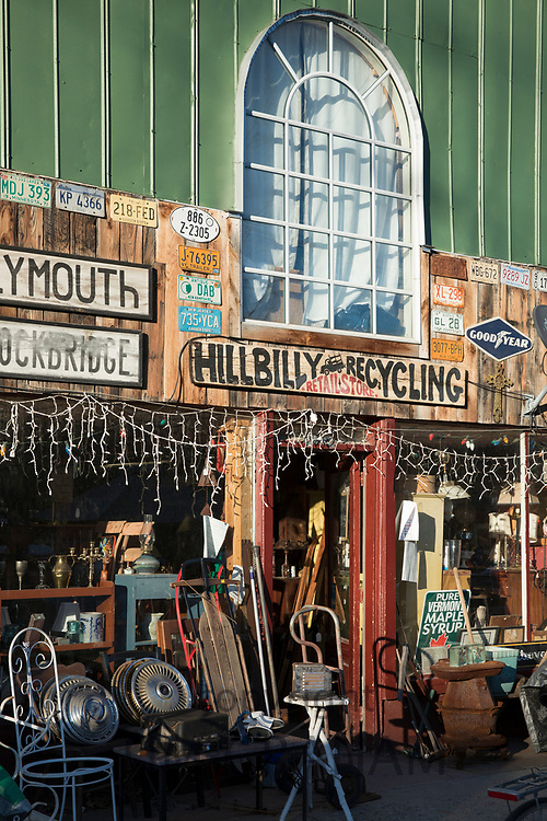 Old objects on sale at Hillbilly Recycling store in Bridgewater, Vermont, New England, USA