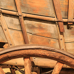 A close up of a Conestoga Wagon on display at the Pennsylvania State Museum in Harrisburg.