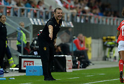 October 9, 2018 - Biel, SWITZERLAND - Belgium's head coach Ives Serneels pictured during a soccer game between Switzerland and Belgium's national team the Red Flames, Tuesday 09 October 2018, in Biel, Switzerland, the return leg of the play-offs qualification games for the women's 2019 World Cup. BELGA PHOTO DAVID CATRY (Credit Image: © David Catry/Belga via ZUMA Press)