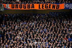 "Chelsea fans display a ""Drogba Legend"" banner - Photo mandatory by-line: Rogan Thomson/JMP - 18/03/2014 - SPORT - FOOTBALL - Stamford Bridge, London - Chelsea v Galatasaray - UEFA Champions League Round of 16 Second leg."