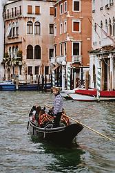 THEMENBILD - ein Gondoliere am Canal Grande mit Touristen, aufgenommen am 04. Oktober 2019 in Venedig, Italien // a gondolier on the Canal Grande with tourists in Venice, Italy on 2019/10/04. EXPA Pictures © 2019, PhotoCredit: EXPA/ JFK