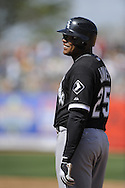 MESA, AZ - MARCH 6:  Andruw Jones #25 of the Chicago White Sox looks on during the game against the Chicago Cubs on March 6, 2010 at HoHoKam Park in Mesa, Arizona. (Photo by Ron Vesely)
