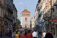 Ulica Florianska with St Florians Gate in Stare Miasto in Krakow Poland