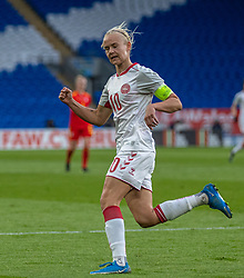 CARDIFF, WALES - Tuesday, April 13, 2021: Denmark's captain Pernille Harder celebrates after scoring the first goal during a Women's International Friendly match between Wales and Denmark at the Cardiff City Stadium. (Pic by David Rawcliffe/Propaganda)