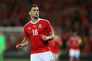 Sam Vokes of Wales in action.Wales v Moldova , FIFA World Cup qualifier at the Cardiff city Stadium in Cardiff on Monday 5th Sept 2016. pic by Andrew Orchard, Andrew Orchard sports photography