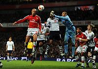 Mikael Silvestre Scores Goal<br /> Arsenal 2008/09<br /> Heurelho Gomes Tottenham Hotspur<br /> Arsenal V Tottenham Hotspur 29/10/08<br /> The Premier League<br /> Photo Robin Parker Fotosports International
