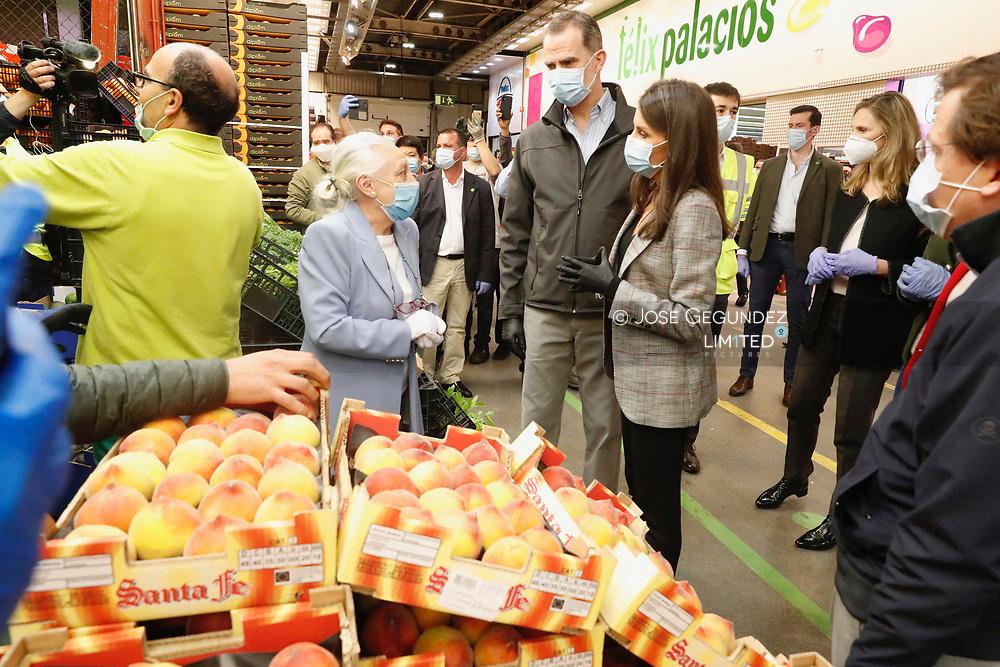 King Felipe VI of Spain, Queen Letizia of Spain visit Mercamadrid, the biggest market in Spain on May 21, 2020 in Madrid, Spain