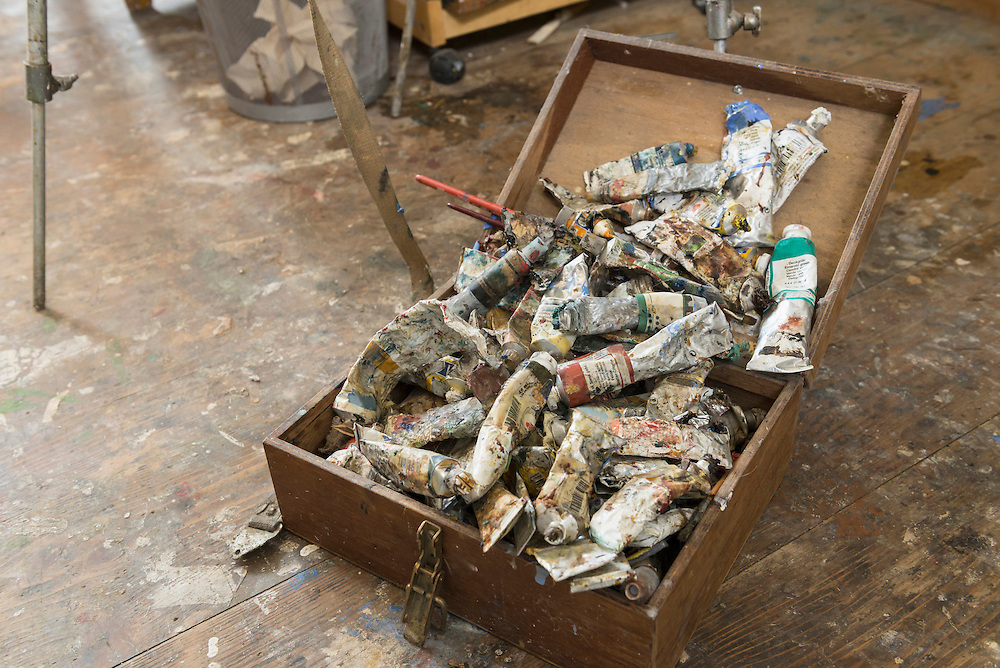 Rubbish paint tubes in wooden box, Bavaria, Germany