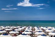 A beautiful beach in the coastal town of Sperlonga Italy. A train ride away from Rome and a perfect getaway for great Italian food, sun and beauty all around