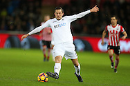 Gylfi Sigurdsson of Swansea city in action. Premier league match, Swansea city v Southampton at the Liberty Stadium in Swansea, South Wales on Tuesday 31st January 2017.<br /> pic by  Andrew Orchard, Andrew Orchard sports photography.