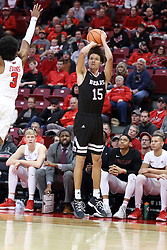 07 January 2018:  Jarrid Rhodes pops off a shot from near the 3 point line with Keyshawn Evans closing in  during a College mens basketball game between the Missouri State Bears and Illinois State Redbirds in Redbird Arena, Normal IL