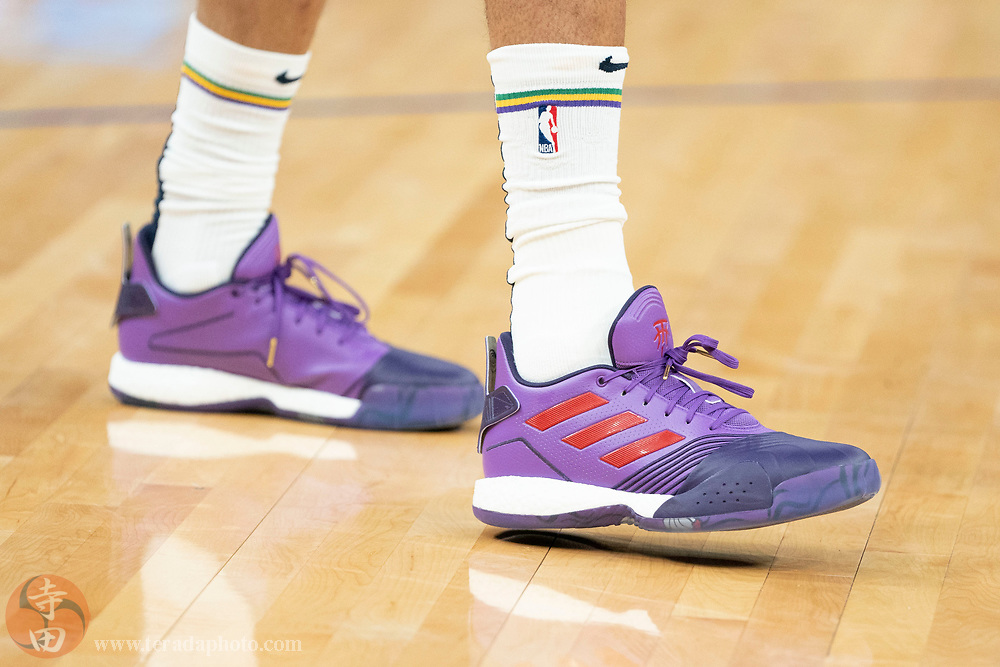 February 23, 2020; San Francisco, California, USA; Detail view of the Adidas shoes worn by New Orleans Pelicans forward Brandon Ingram (14) before the game against the Golden State Warriors at Chase Center.