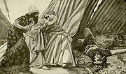 JAEL SHOWS TO BARAK, SISERA LYING DEAD.Judges iv. 22. And, behold, as Barak pursued Sisera, Jael came out to meet him, and said unto him, Come, and I will shew thee the man whom thou seekest And when he came into her tent, behold, Sisera lay dead, and the nail was in his temple. From the book ' The Old Testament : three hundred and ninety-six compositions illustrating the Old Testament ' Part II by J. James Tissot Published by M. de Brunoff in Paris, London and New York in 1904