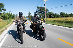 Father and son - Mark Loewen riding his 1912 Excelsior twin alongside his son Jeremy on his 1925 Harley-Davidson JD in the Motorcycle Cannonball coast to coast vintage run. Stage 5 (229 miles) from Bowling Green, OH to Bourbonnais, IL. Wednesday September 12, 2018. Photography ©2018 Michael Lichter.
