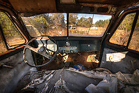 A rotted out cabin of a truck in a junkyard in South Carolina