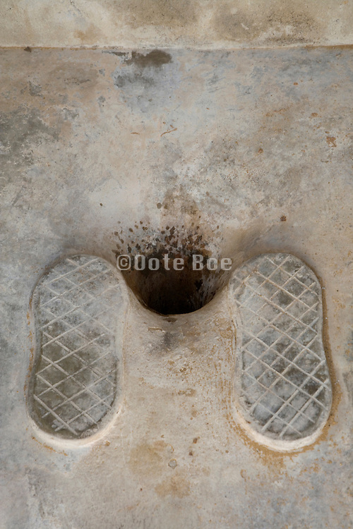 extreme close up of an old style toilette France Languedoc