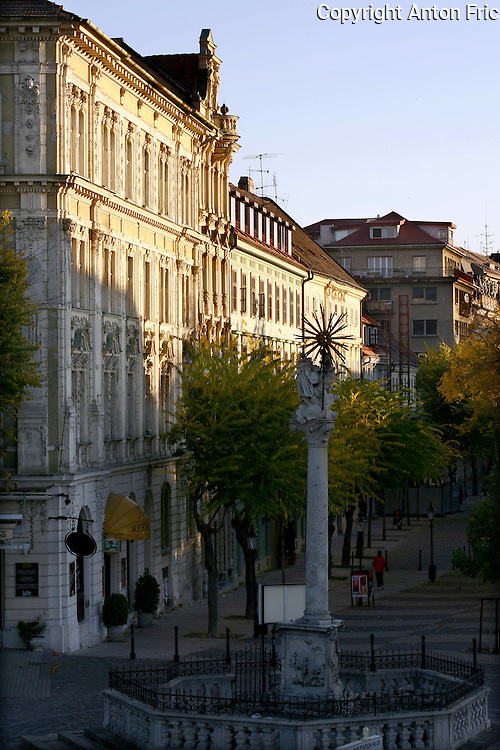 Hviezdoslav's Square in Bratislava, Slovakia. Hviezdoslavovo namestie and the plague pillar from the 18th century.