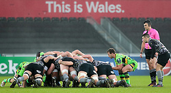 Northampton Saints' Nic Groom puts in to the scrum<br /> <br /> Photographer Simon King/Replay Images<br /> <br /> EPCR Champions Cup Round 4 - Ospreys v Northampton Saints - Sunday 17th December 2017 - Parc y Scarlets - Llanelli<br /> <br /> World Copyright © 2017 Replay Images. All rights reserved. info@replayimages.co.uk - www.replayimages.co.uk