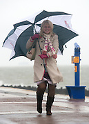 © Licensed to London News Pictures. 11/11/2014. Southsea, UK. A woman holds  her umbrella against the strong wind.  Wet and windy weather today, 11 November 2014, at Southsea, Portsmouth. The Met Office have issued weather warnings in some parts of the UK. Photo credit : Stephen Simpson/LNP