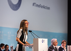 2 December 2019, Madrid, Spain: Carolina Schmidt gives her first remarks as new president of COP, as the 25th UN climate conference (COP25) opening plenaries take place  in Madrid.