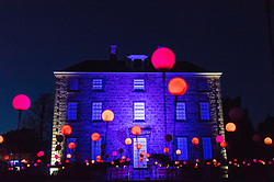 Edinburgh, Scotland, United Kingdom. 24 November, 2017. Edinburgh's newest festive event, Christmas at the Botanics, opened this evening . The illuminations held inside Edinburgh's Royal Botanic Gardens runs for 29 nights.  Inverleith House is surrounded by spheres of light in the Bloom display.