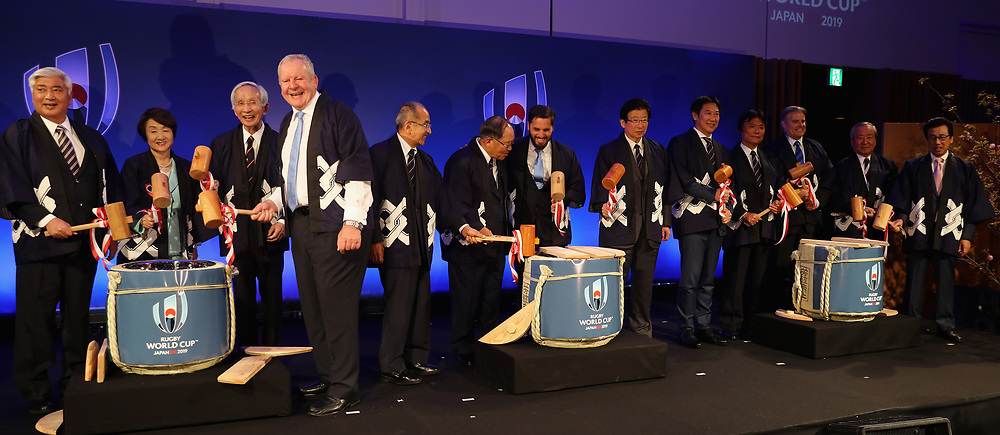 World Rugby and JP2019 dignitaries prepare to perform the traditional opening of the sake barrel during the pre Rugby World Cup Japan 2019 reception held at the Hyatt Regency hotel on the eve of the Rugby World Cup Japan 2019 Pool Draw, on May 9, 2017 in Kyoto, Japan. The Rugby World Cup Japan 2019 takes place on May 10, in Kyoto, Japan. Photo by Dave Rogers - World Rugby/PARSPIX/ABACAPRESS.COM