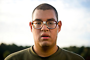 Marine Corps recruit David Briones stands in formation during physical training at Parris Island, S.C., on Nov. 24, 2007. (Photo by Stacy L. Pearsall)