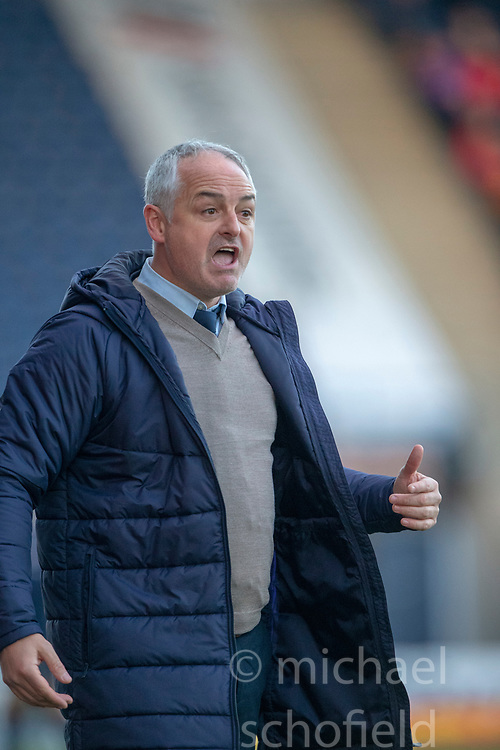 Falkirk's manager Ray McKinnon. Falkirk 1 v 1 Partick Thistle, Scottish Championship game played 17/11/2018 at The Falkirk Stadium.