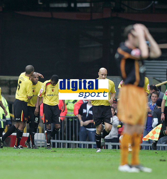 Photo: Lee Earle.<br /> Watford v Wolverhampton Wanderers. Coca Cola Championship. 29/10/2005. Watford players congratulate Marlon King after he scored their second.