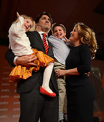 Justin Trudeau, his wife Sophie Gregoire and their children Xavier and Ella-Grace, celebrate on Sunday April 14, 2013 in Ottawa. THE CANADIAN PRESS/Sean Kilpatrick /ABACAPRESS.COM    521043_042 Ottawa Canada