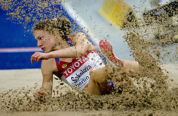 Elena Sokolova of Russia competes in the women's Long Jump Qualification during day seven of the 12th IAAF World Athletics Championships at the Olympic Stadium on August 21, 2009 in Berlin, Germany.(Photo by Vid Ponikvar / Sportida)