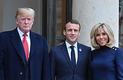 US President Donald Trump, French President Emmanuel Macron, US First Lady Melania Trump and French President's wife Brigitte Macron at the Elysee Palace in Paris on November 10, 2018 following bilateral talks on the sidelines of commemorations marking the 100th anniversary of the 11 November 1918 armistice, ending World War I. Photo by Christian Liewig/ABACAPRESS.COM